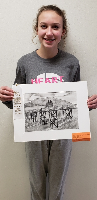 Isabella Arensdorf, 8th grade, 3rd place in pencil drawing at MNAC  Junior High Art Show