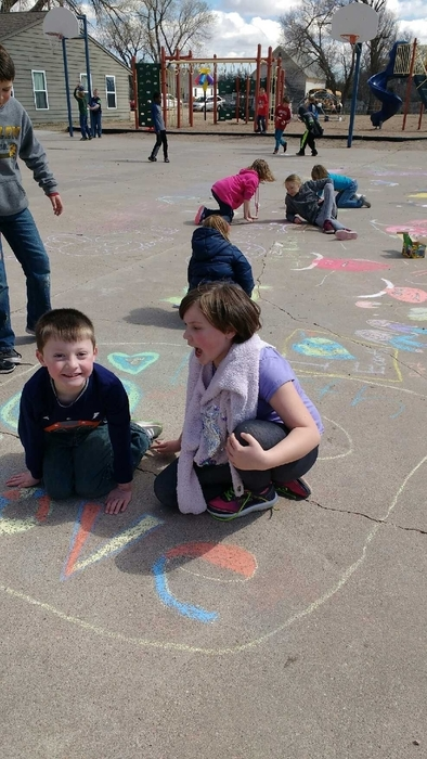 Spring fun with sidewalk chalk