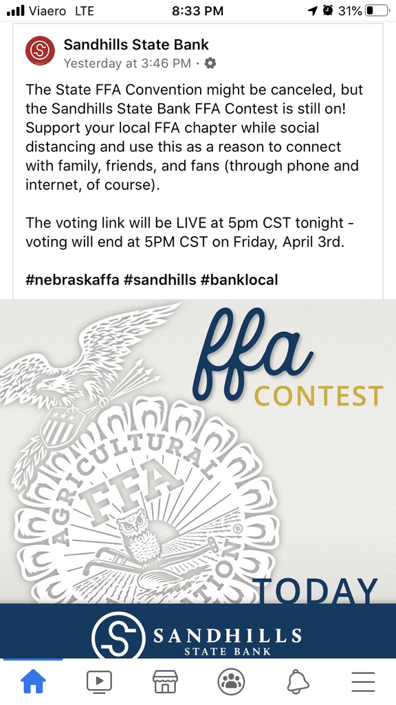 Please be sure to vote for our wonderful FFA program!